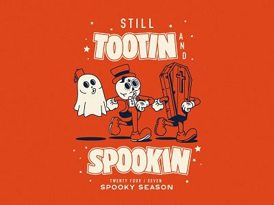 Still Tootin and Still Spookin ghost coffin spooktober halloween mascot walk spooky vector illustrator flat illustration graphic design branding design