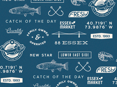 New Star Fish Market fish new star fish market pattern branding design graphic design logo minimal branding illustrator illustration flat design