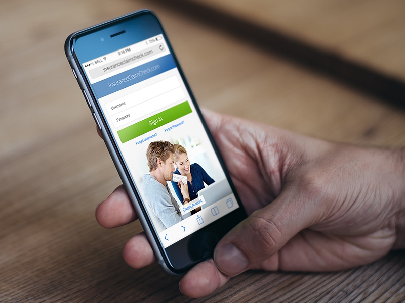 Insurance Claims Mobile Site web design ui responsive mobile