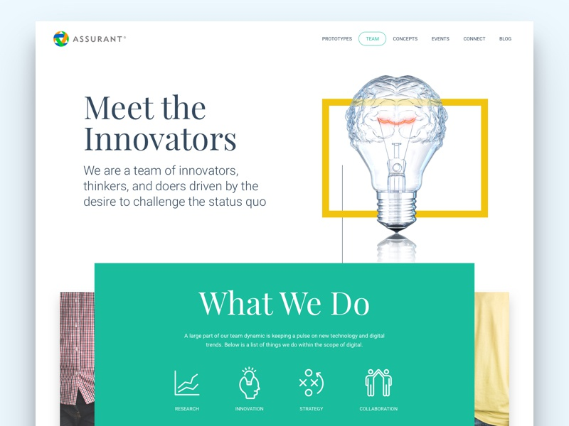 Meet the Innovators web design design web ux ui innovation shapes geometric clean landing page team