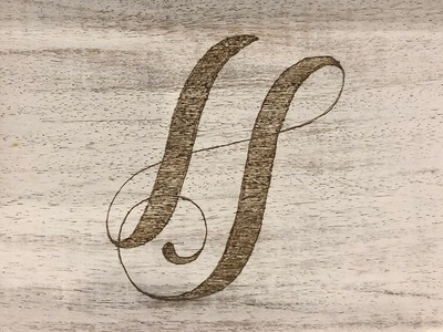 """HS"" Wood Burned Monogram jenga logo typography clean wood burning lettering calligraphy monogram pyrography"