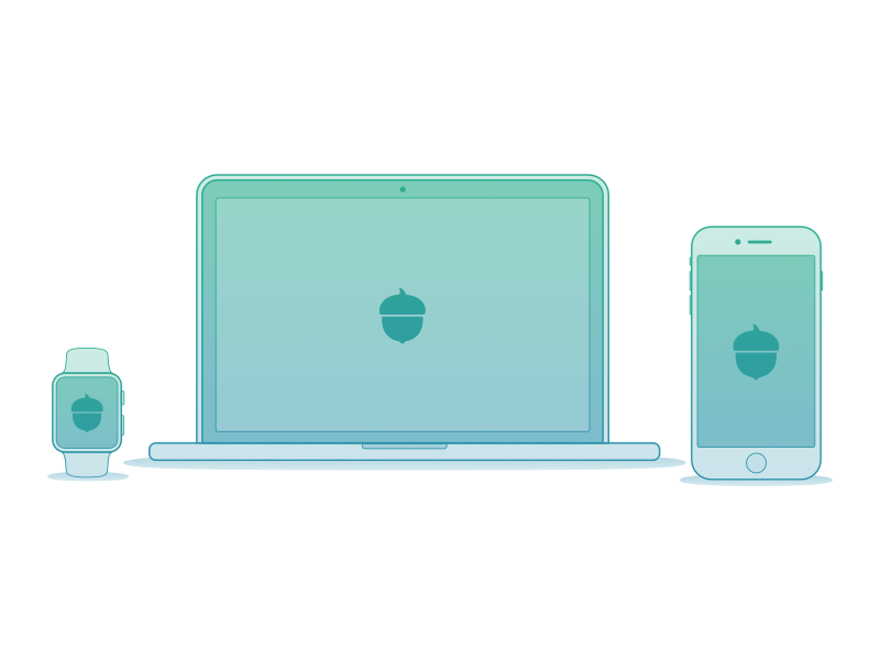 Acorns Product Illustrations  app iphone investing gradient illustration acorns