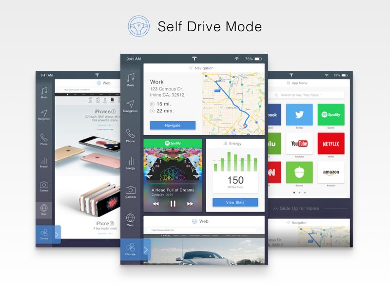 Tesla Interface Redesign - Self Drive Mode matt zelazo app interface ui sketch3 cards tesla