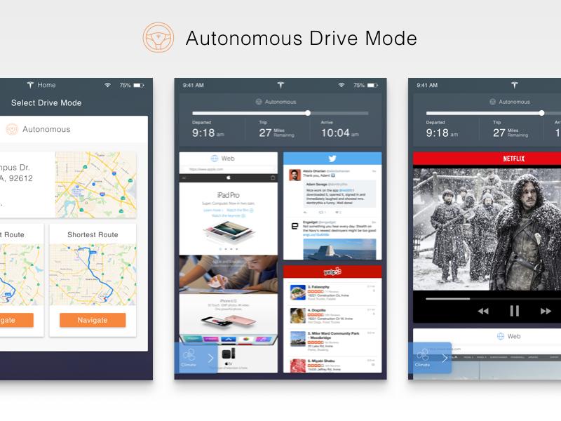 Tesla Interface Redesign - Autonomous Drive Mode matt zelazo app interface ui sketch3 cards tesla