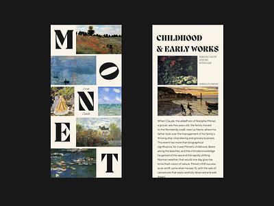 CLAUDE MONET history biography paintings art design ui web