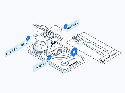 Isometric Illustration Food Delivery Company isometry isometric vector branding illustration graphic design design