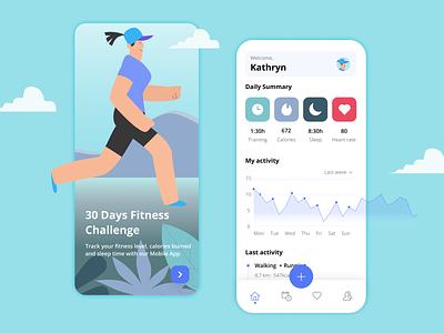 Fitness App UI illustration graphic design app ux ui design