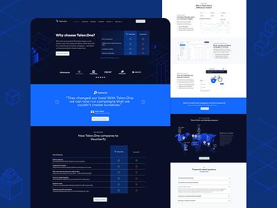 Talon.One Comparison Webpage isometric illustration web app ux ui design