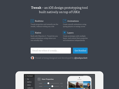 Tweak Site website site landing page tweak ipad prototyping