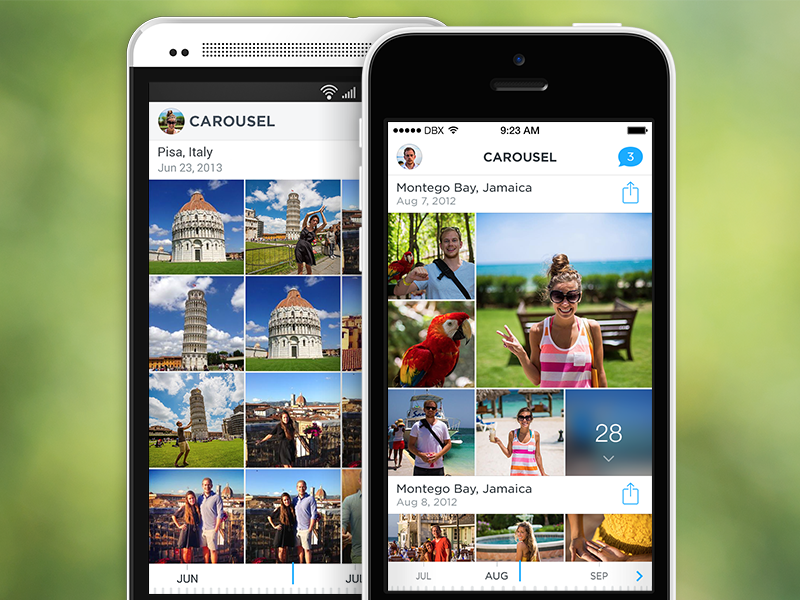 Carousel carousel dropbox iphone android app photos grid photo design