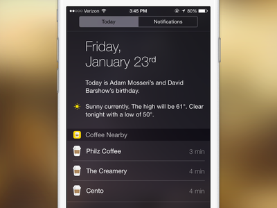 Coffee Nearby coffee nearby widget discovery ios extension icon app iphone