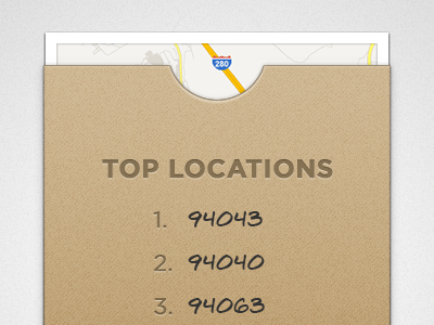 Top Locations map envelope locations