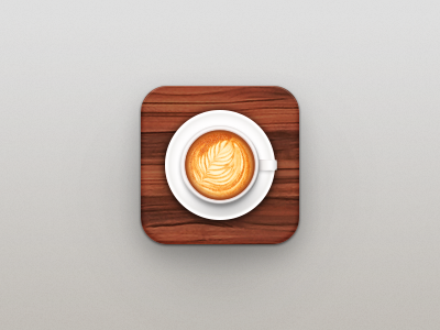 Cafe App Icon cafe coffee latte cup wood icon