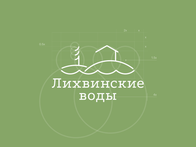 "Logo for the hotel ""Likhvinsky waters"" brand figma river loan meadow tree russia nature hotel illustration branding logo design"