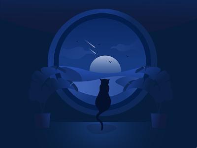 Night Desert Cat flat illustration flat vector illustration digital illustration digital art vectorart vector blue window cat desert dark night