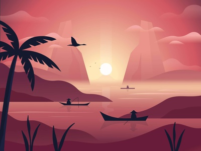 Sri Lanka fisherman birds digital illustration flat illustration vector flat red dark purple pink twilight sunset fishing sea ocean bali indonesia sri lanka
