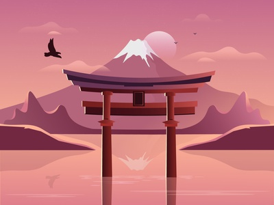 Japan digital illustration japanese flat landscape vacation travel summer purple red pink sea river lake mountain fuji tokyo asia moon sunset japan