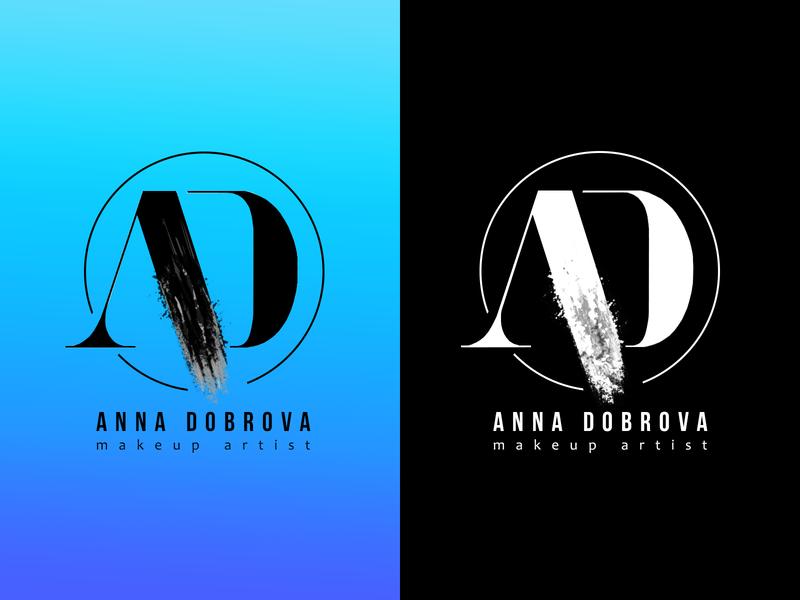 AD logotype electric blue blackandwhite black  white makeup artist letter logo design letter logo logodesign logotype logo