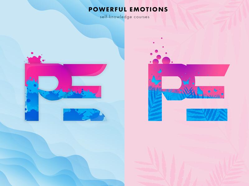 PE logotypes adobe illustrator blue pink letter logos letter logo logodesign logos logotype logo design
