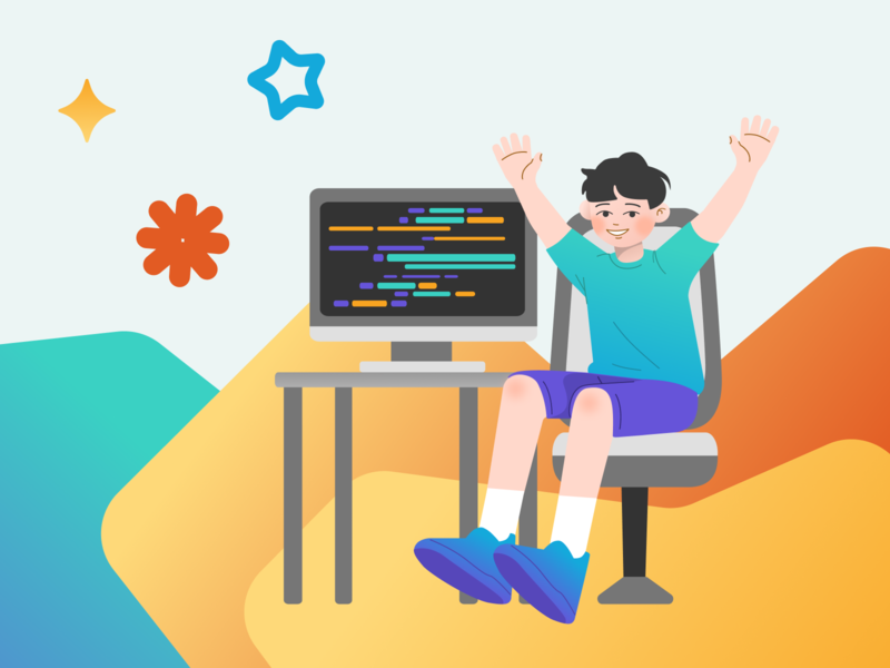 Programmer boy kids illustration kid gradients сute programmer boy illustration illustration art
