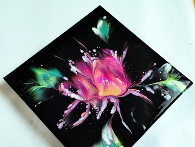 (299) Awesome flower painting - BLOOM DIP - Fluid acrylics - Acr