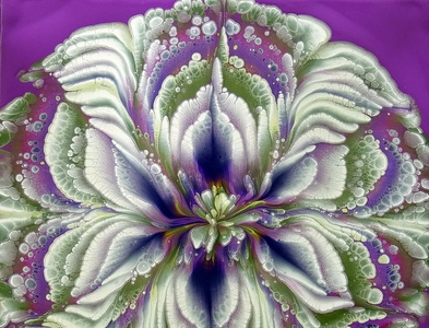 AMAZING acrylic pour FLOWER painting ~ Violet & Olive green ~ MU fluid art stayhome flower paintings acrylic paint tutorial design art pouring acrylic