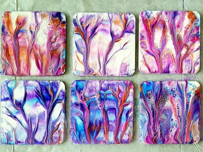 HOW TO make gorgeous COASTERS in few minutes ~ Dip technique ~ C flower stayhome fluid art paintings acrylic paint tutorial design art coaster pouring acrylic