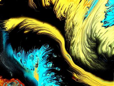 Deep Sea ~ SPLIT CUP pour ~ Fluid art painting ~ #StayCreative ~ flower stayhome fluid art paintings acrylic paint tutorial design art pouring acrylic