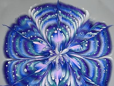 FLOETROL and GLUE pouring medium ~ Reverse flower dip ~ Acrylic