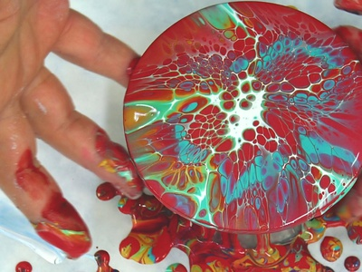 Blooming ~ Acrylic pouring on round MDF coasters ~ Red pillow an logo illustration paintings acrylic paint design tutorial pouring art acrylic