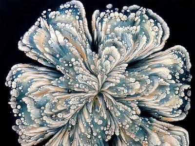 GLASS BOTTOM Reverse flower dip ~ Fluid art FLOWER painting ~ St fiona art logo illustration paintings acrylic paint design tutorial pouring art acrylic
