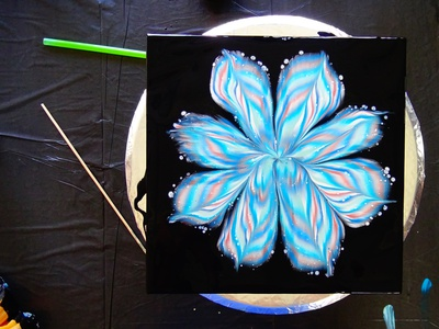 Acrylic pouring reverse flower dip over two GLASSES ~ Fluid pain fiona art flower logo illustration paintings acrylic paint design tutorial pouring art acrylic