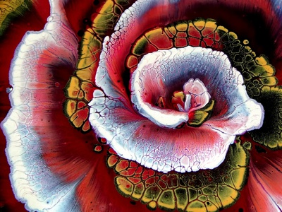 From SPIRAL to FLOWER in 10 MINUTES ~ Fluid Art ~ Step by step t flower illustration paintings acrylic paint design tutorial pouring art acrylic