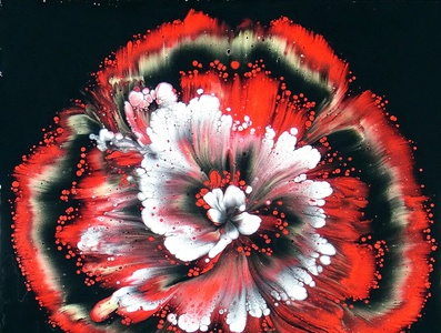 (238) Reverse flower dip in red - Acrylic pouring technique - Fl