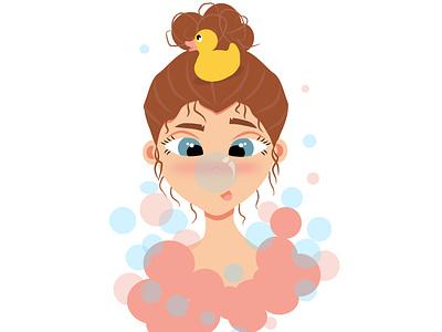 Девочка с уточкой flat branding animation sea typography logo illustration vector web design