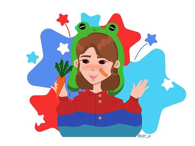 Девочка в шапке лягушки illustration branding animation web minimal icon flat typography sea design