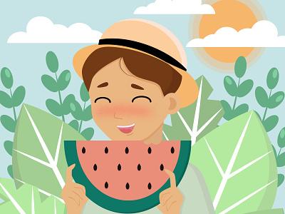Летнее настроение растения летнеенастроение арбуз лето ux web vector typography illustration design motion graphics branding logo animation graphic design