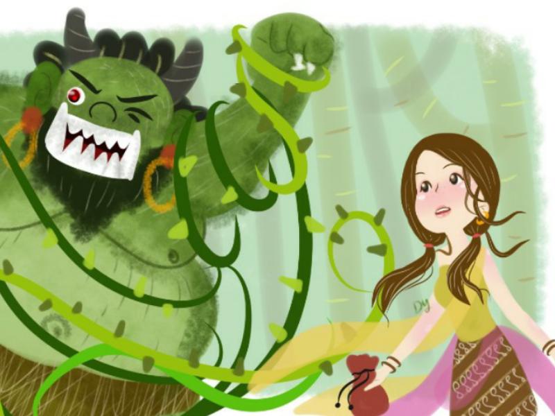 giant and little girl (timunmas) childrenbookillustration childrenbook