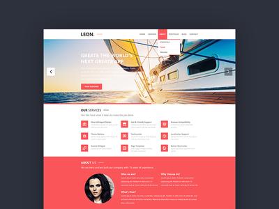 Leon | WordPress Theme one page minimal theme flat wordpress