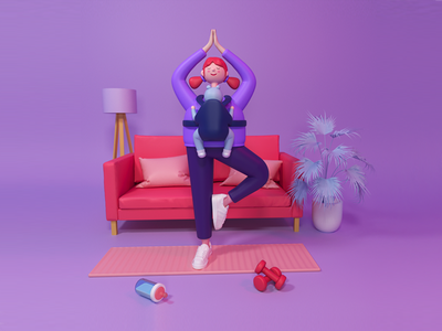 Super Mommy coronarender yoga baby mother digitalart c4d illustration cinema4d 3d art 3d