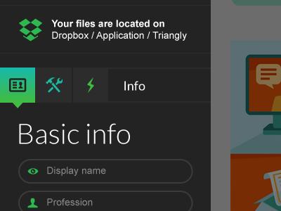 Sidebar menu sidebar menu design webdesign ui portfolio triangly form dropbox