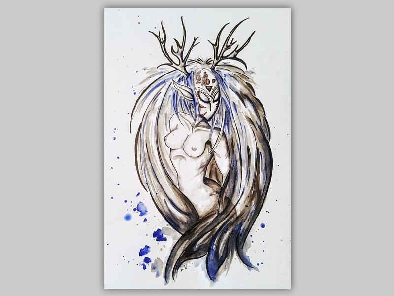 Dryad drawing mythology mystic artwork artist canvasart dryad canvas traditional art witch shaman watercolor illustration art