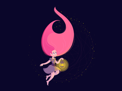 Keep dreaming elf digital girl dream vector illustration artwork vector art adobe illustrator vector illustrator artist illustration art