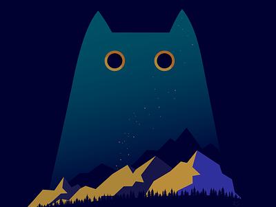 Spirit of the mountains spirit mountains night cat artwork vector illustration vector art adobe illustrator vector illustrator illustration art