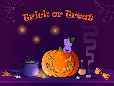 Trick or treat! magic cat halloween art vectorart vector illustration vector illustration