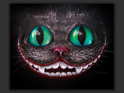 Cheshire cat traditional art artist illustrator pencil art canvas canvasart cat illustration art