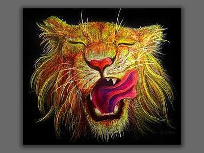 Sunny young lion traditional art artwork pencil lion head lion animal canvasart canvas artist illustrator illustration art