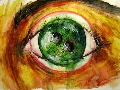 Beyond awareness traditional art eye fantasy pencil watercolor canvasart canvas artist illustrator illustration art