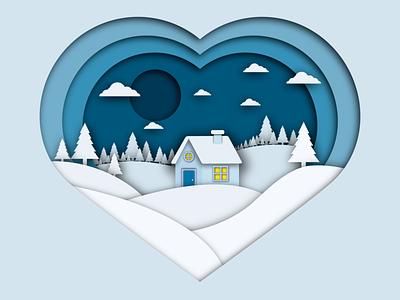 Winter house forest wonderland winter wonderland landscape paper art love house winter design artwork vector illustration vector art adobe illustrator artist illustrator illustration vector art