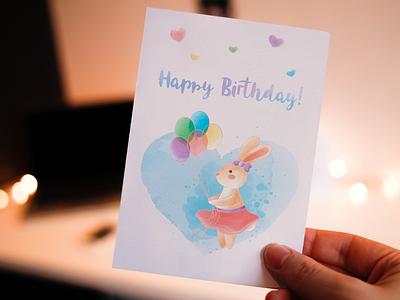 Greeting card - Bunny happy birthday balloons bunny digital painting digital art digital card watercolor greeting card artwork design vector illustration vector art adobe illustrator artist illustrator illustration vector art